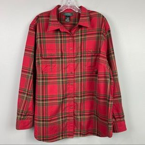 RL Lauren Plaid Red Button Down Shirt 2X